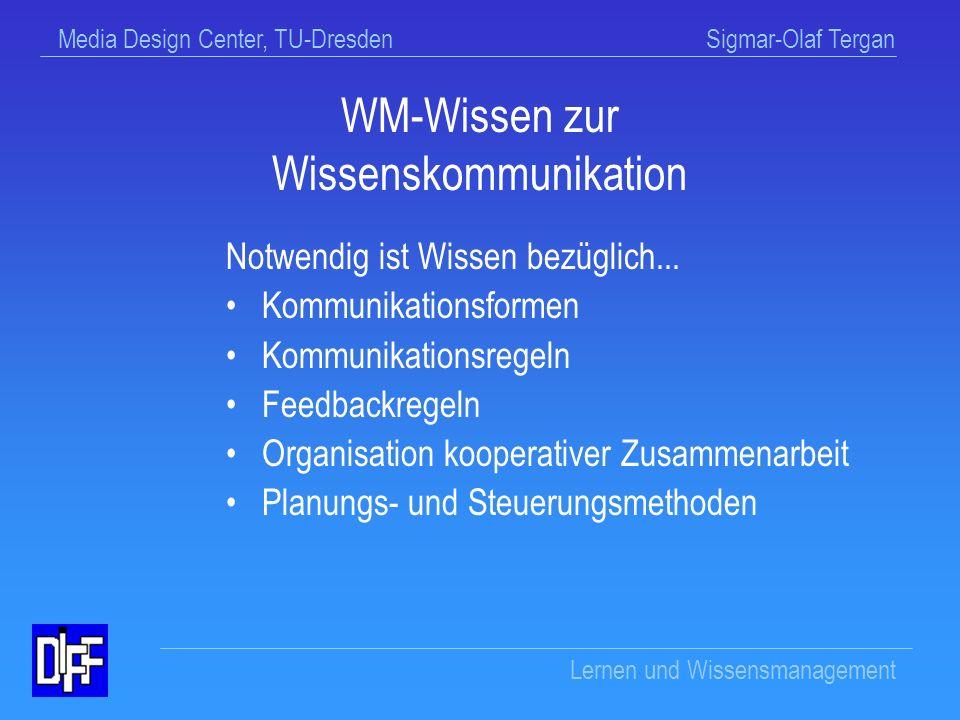 Media Design Center, TU-Dresden Sigmar-Olaf Tergan Lernen und Wissensmanagement Wissen wird...