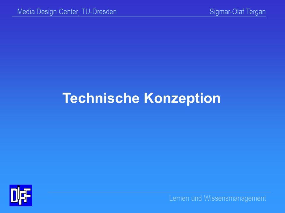 Media Design Center, TU-Dresden Sigmar-Olaf Tergan Lernen und Wissensmanagement HyperDisc Web-Präsentation und Veröffentlichungen http://hyperdisc.diff.uni-tuebingen.de/ Kontakt Dr.