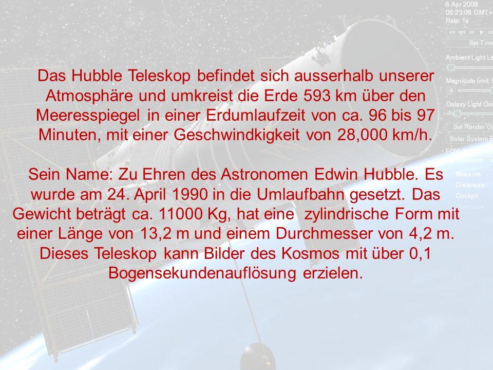 Das Hubble Teleskop befindet sich ausserhalb unserer Atmosphäre und umkreist die Erde 593 km über den Meeresspiegel in einer Erdumlaufzeit von ca.