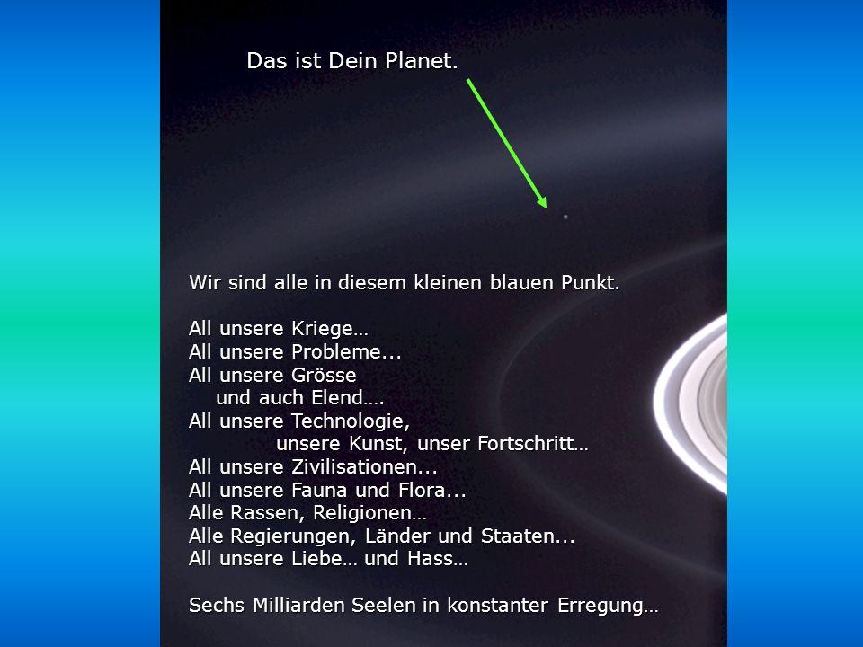 Héla aquí, pues: Betrachte dieses Bild doch für ein paar Momente. Es wurde bei der Cassini-Huygens Mission 2004 aufgenommen, als sie an die Ringe des