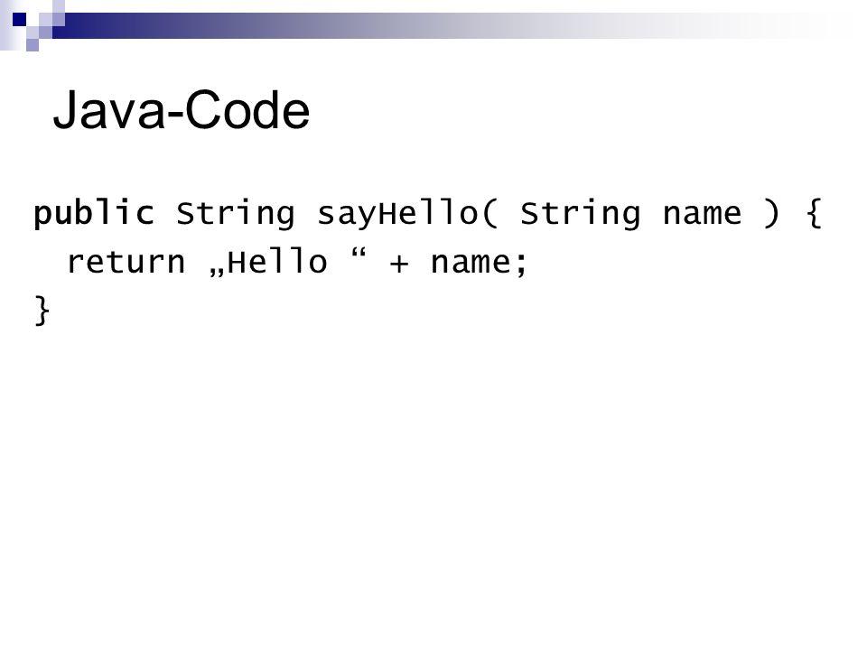 Java-Code public String sayHello( String name ) { return Hello + name; }