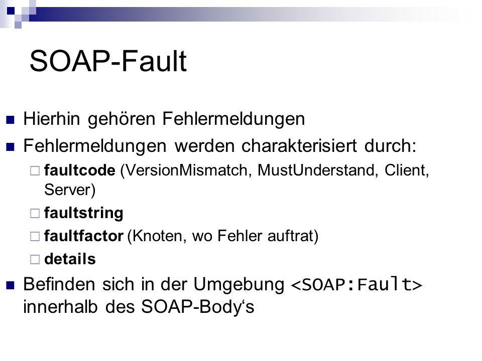 SOAP-Fault Hierhin gehören Fehlermeldungen Fehlermeldungen werden charakterisiert durch: faultcode (VersionMismatch, MustUnderstand, Client, Server) f