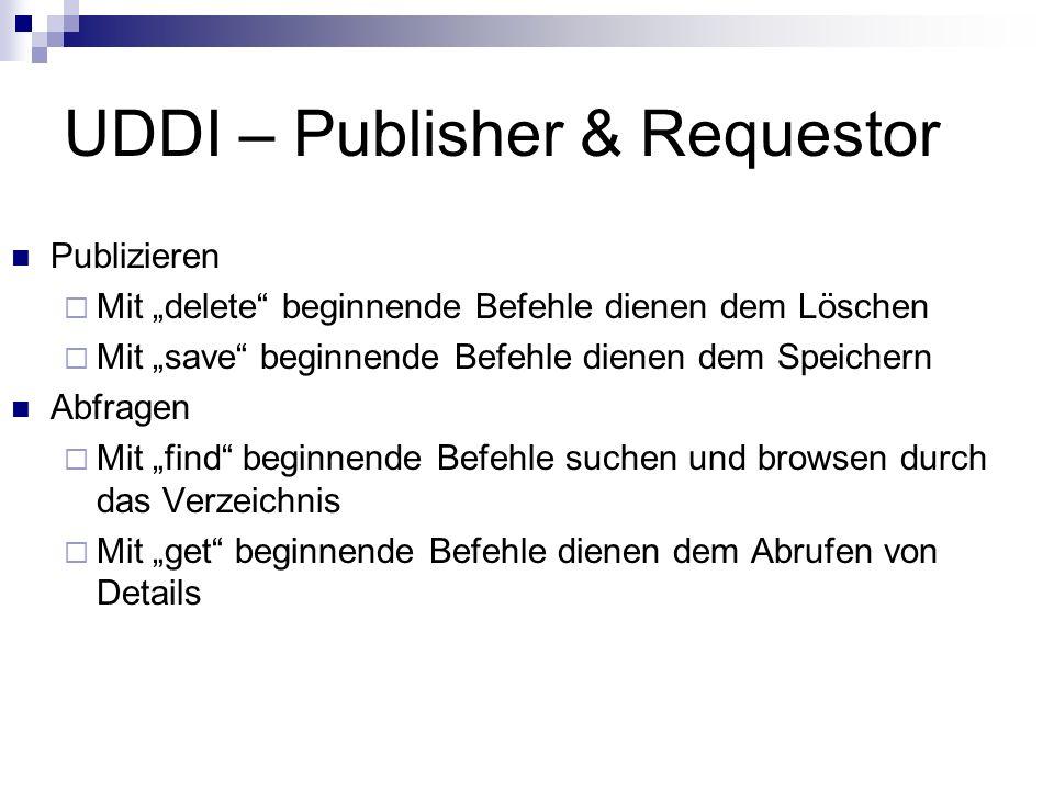 UDDI – Publisher & Requestor Publizieren Mit delete beginnende Befehle dienen dem Löschen Mit save beginnende Befehle dienen dem Speichern Abfragen Mi