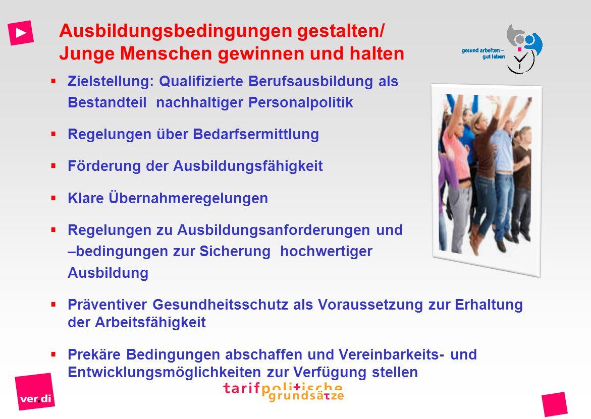 Zielstellung: Qualifizierte Berufsausbildung als Bestandteil nachhaltiger Personalpolitik Regelungen über Bedarfsermittlung Förderung der Ausbildungsf