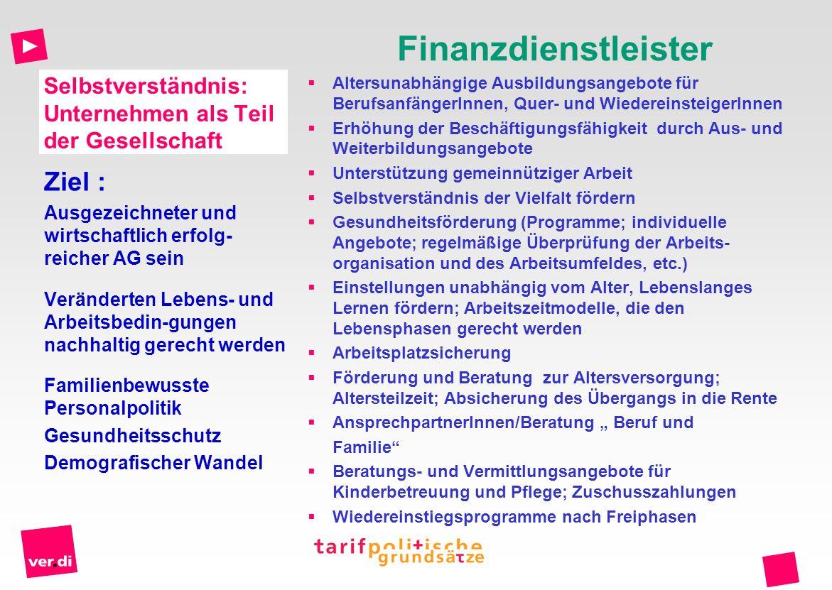 Selbstverständnis: Unternehmen als Teil der Gesellschaft Finanzdienstleister Altersunabhängige Ausbildungsangebote für BerufsanfängerInnen, Quer- und