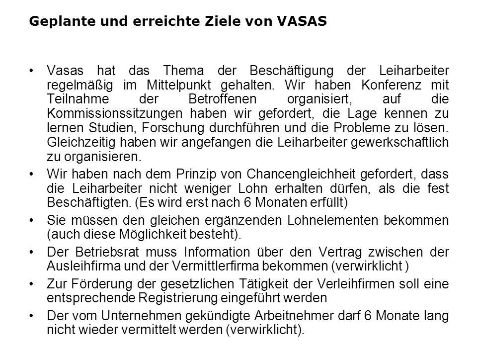 Geplante und erreichte Ziele von VASAS Vasas hat das Thema der Beschäftigung der Leiharbeiter regelmäßig im Mittelpunkt gehalten. Wir haben Konferenz