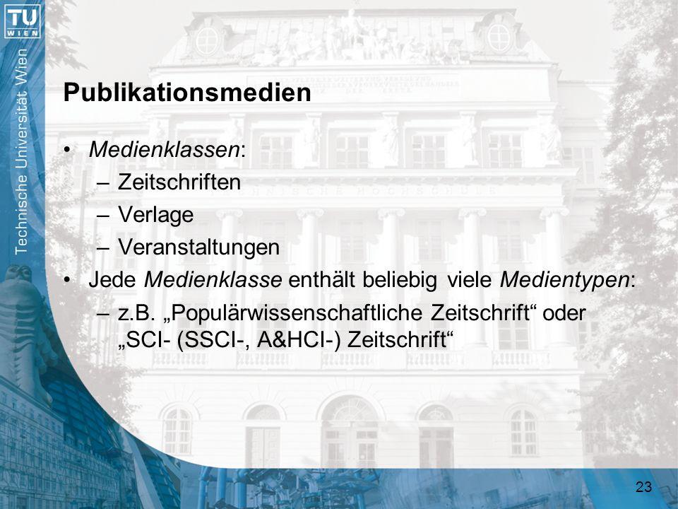 23 Publikationsmedien Medienklassen: –Zeitschriften –Verlage –Veranstaltungen Jede Medienklasse enthält beliebig viele Medientypen: –z.B. Populärwisse