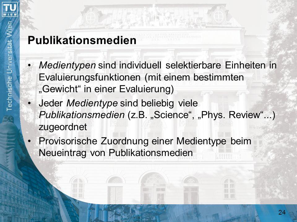 24 Publikationsmedien Medientypen sind individuell selektierbare Einheiten in Evaluierungsfunktionen (mit einem bestimmten Gewicht in einer Evaluierun