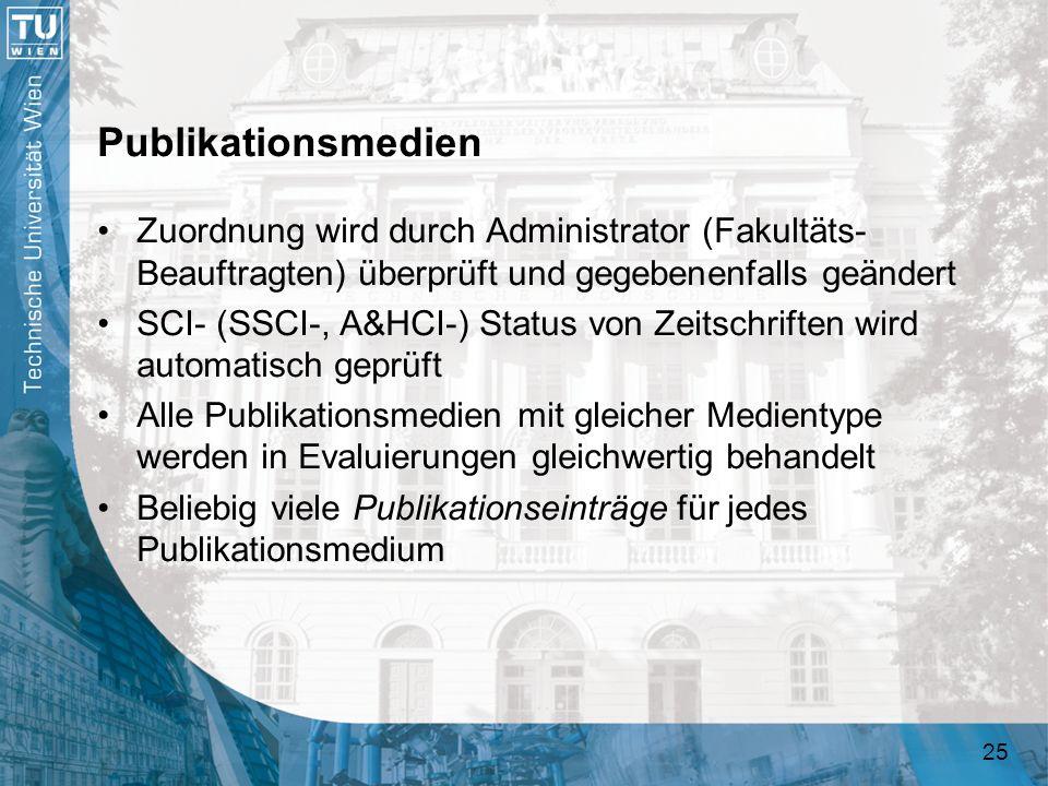 25 Publikationsmedien Zuordnung wird durch Administrator (Fakultäts- Beauftragten) überprüft und gegebenenfalls geändert SCI- (SSCI-, A&HCI-) Status v