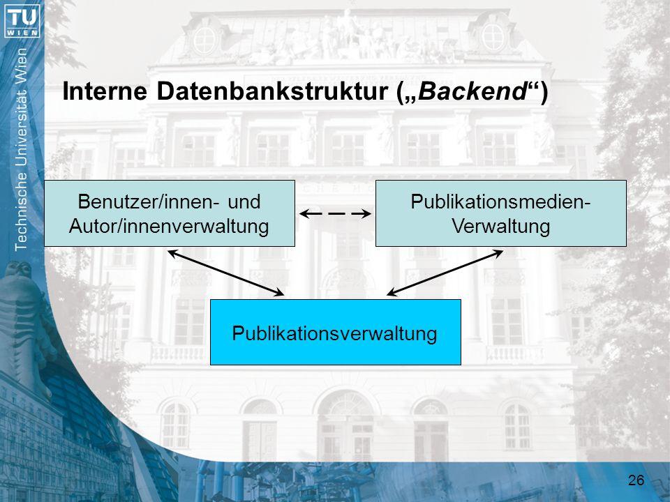 26 Interne Datenbankstruktur (Backend) Publikationsverwaltung Benutzer/innen- und Autor/innenverwaltung Publikationsmedien- Verwaltung