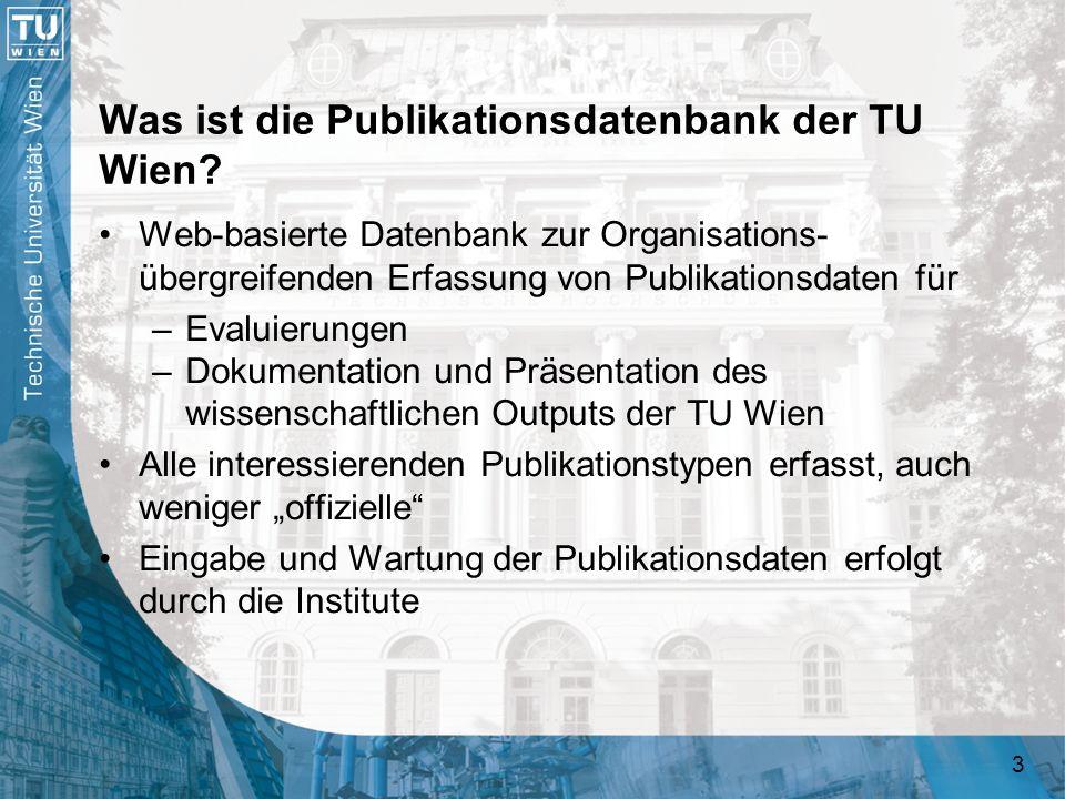 54 Die Publikationsdatenbank an der TU Wien Kooperation mit TU-Datensammlungen –Projektdatenbank (Daten-Import und -Export) –Personal-Datenbank (Daten-Import) –White Pages (Aufruf) –Bibliothek (Export von Publikationsdaten einschließlich Abstracts und elektronischen Versionen; Import von Aleph-Links) Verlinkung mit anderen TU-Systemen