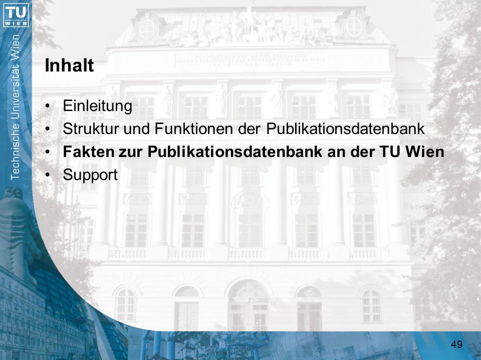 49 Inhalt Einleitung Struktur und Funktionen der Publikationsdatenbank Fakten zur Publikationsdatenbank an der TU Wien Support