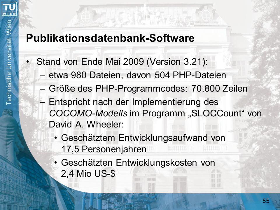 55 Publikationsdatenbank-Software Stand von Ende Mai 2009 (Version 3.21): –etwa 980 Dateien, davon 504 PHP-Dateien –Größe des PHP-Programmcodes: 70.80