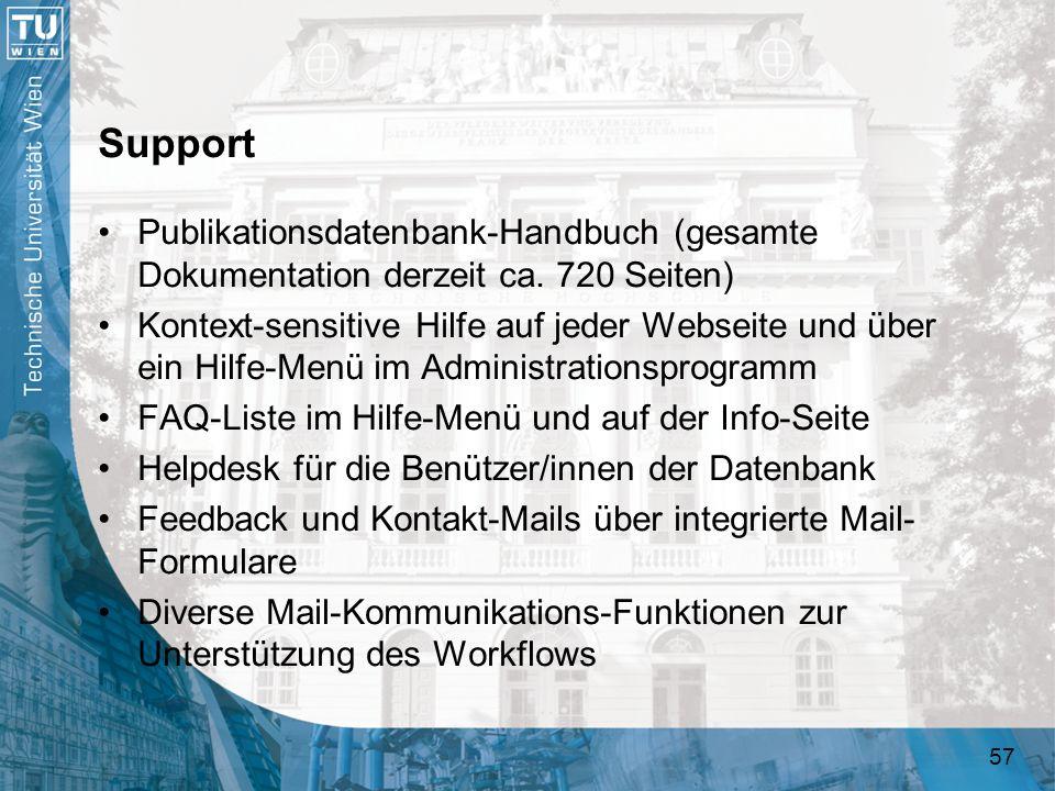 57 Support Publikationsdatenbank-Handbuch (gesamte Dokumentation derzeit ca. 720 Seiten) Kontext-sensitive Hilfe auf jeder Webseite und über ein Hilfe
