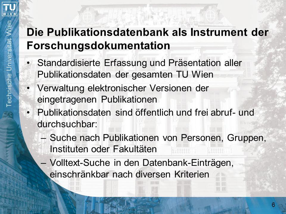 37 Funktionen der Publikationsdatenbank Eigentliche Datenbank (Backend) Administrations- programm Suchfunktionen und Publikationslistenausgabe Webservice- Schnittstellen Frontends