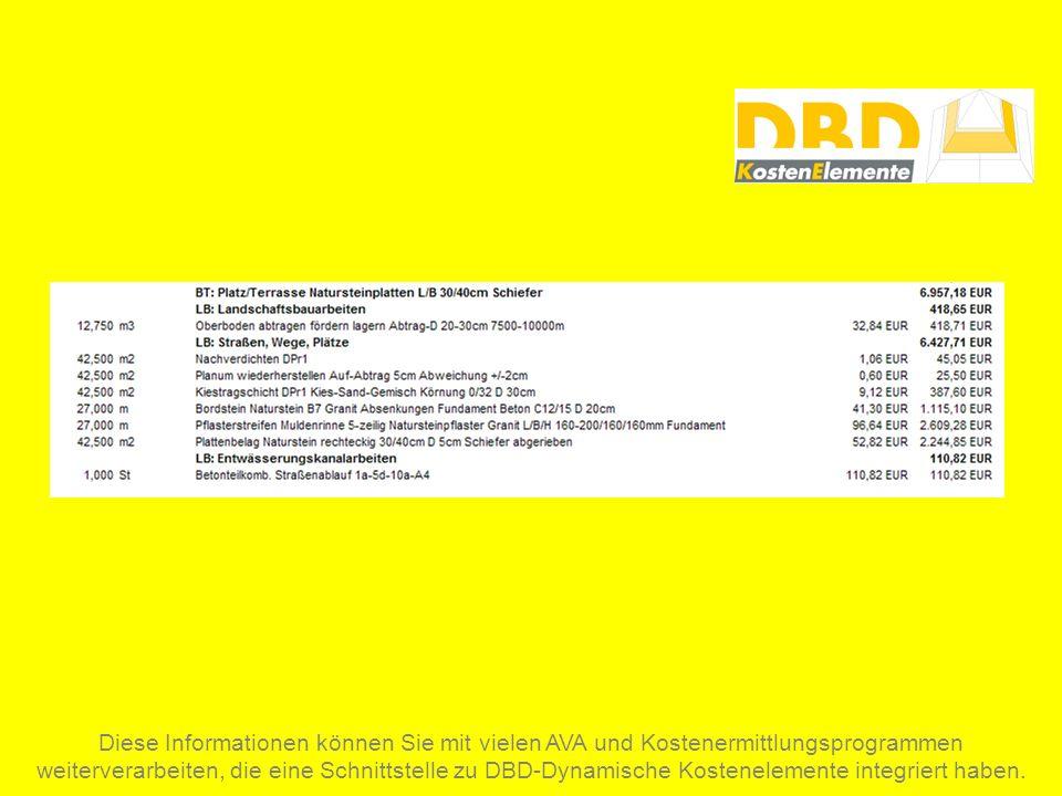 Diese Informationen können Sie mit vielen AVA und Kostenermittlungsprogrammen weiterverarbeiten, die eine Schnittstelle zu DBD-Dynamische Kostenelemen
