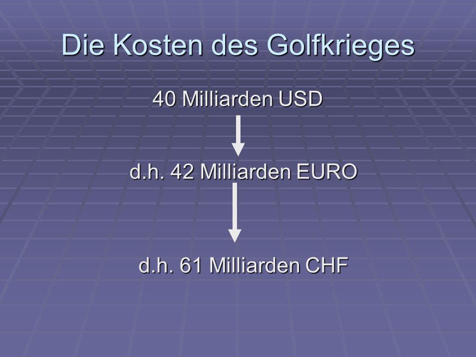 Die Kosten des Golfkrieges 40 Milliarden USD d.h. 42 Milliarden EURO d.h. 61 Milliarden CHF