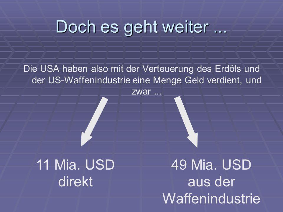 Doch es geht weiter... Die USA haben also mit der Verteuerung des Erdöls und der US-Waffenindustrie eine Menge Geld verdient, und zwar... 11 Mia. USD