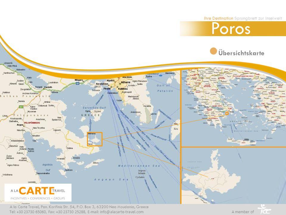 Übersichtskarte Ihre Destination Sprungbrett zur Inselwelt Poros A la Carte Travel, Pan.