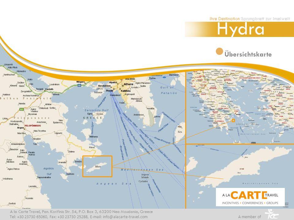 Übersichtskarte Ihre Destination Sprungbrett zur Inselwelt Hydra A la Carte Travel, Pan.