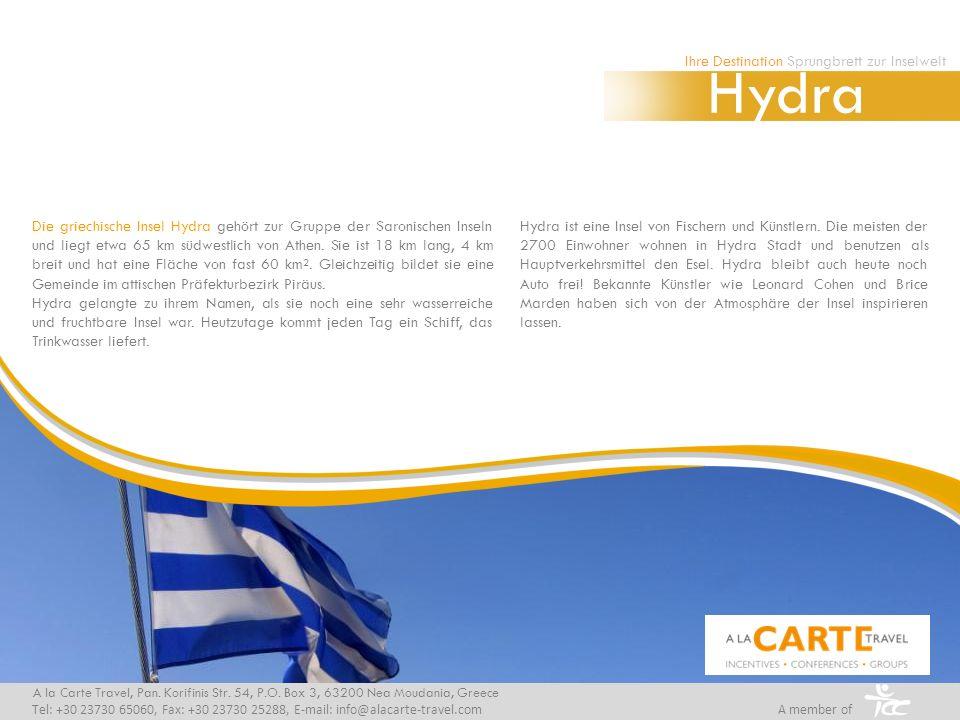 Die griechische Insel Hydra gehört zur Gruppe der Saronischen Inseln und liegt etwa 65 km südwestlich von Athen.
