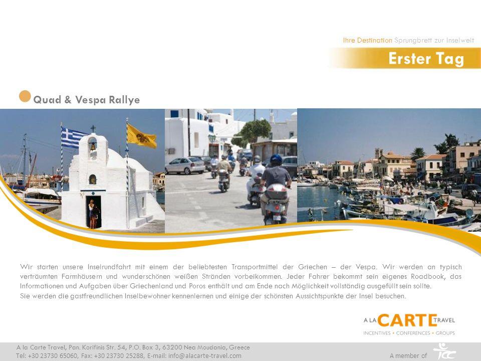 Wir starten unsere Inselrundfahrt mit einem der beliebtesten Transportmittel der Griechen – der Vespa.