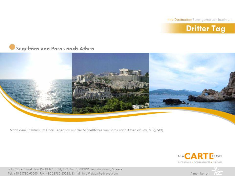 Nach dem Frühstück im Hotel legen wir mit der Schnellfähre von Poros nach Athen ab (ca.