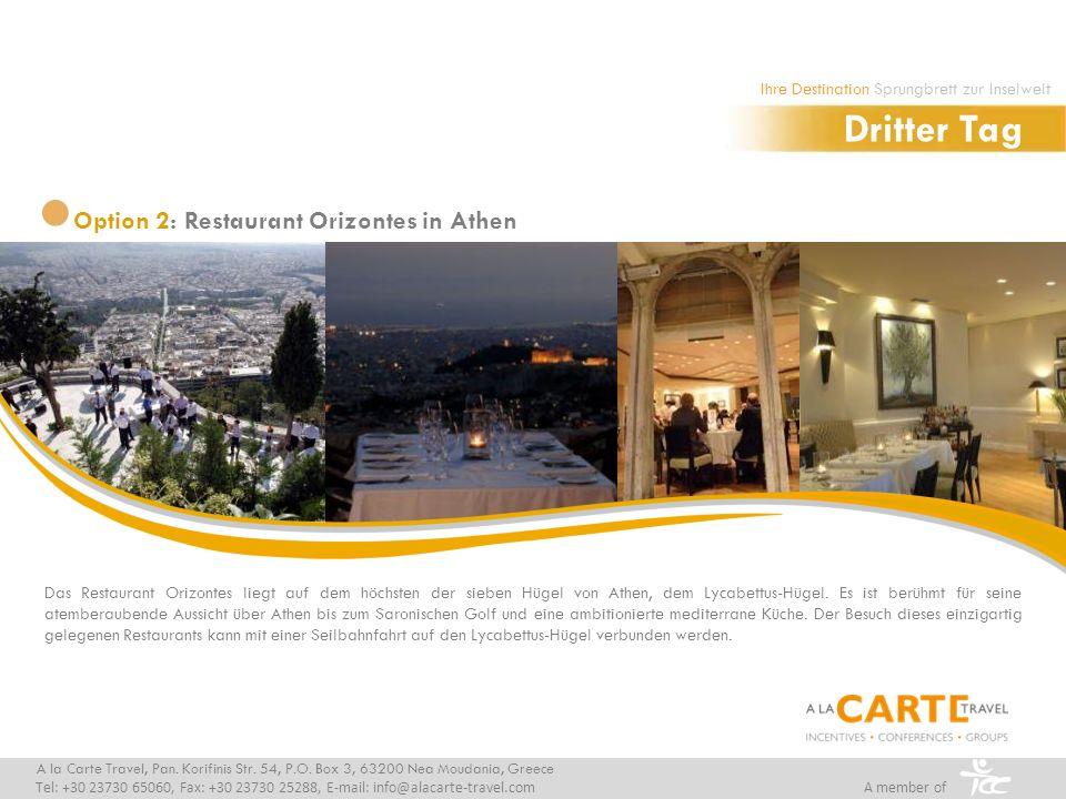 Das Restaurant Orizontes liegt auf dem höchsten der sieben Hügel von Athen, dem Lycabettus-Hügel.