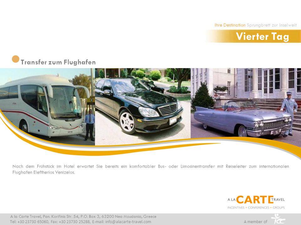 Nach dem Frühstück im Hotel erwartet Sie bereits ein komfortabler Bus- oder Limosinentransfer mit Reiseleiter zum internationalen Flughafen Eleftherios Venizelos.
