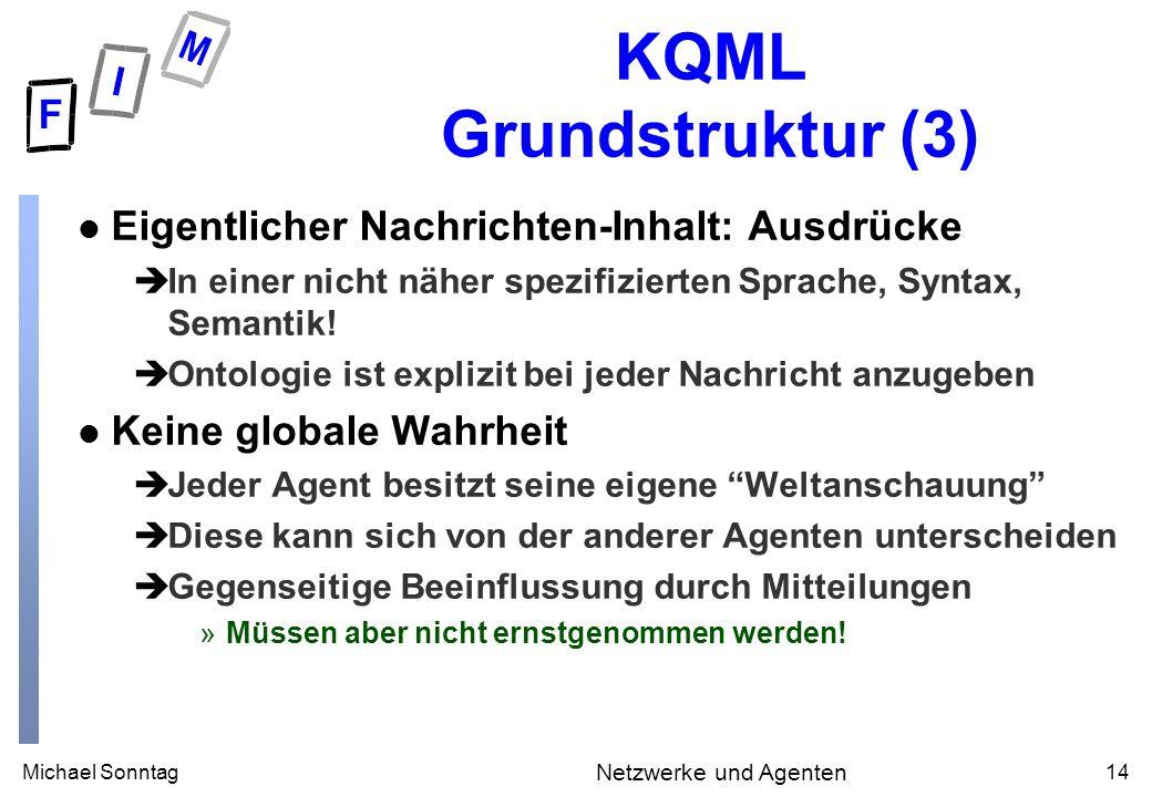 Michael Sonntag14 Netzwerke und Agenten KQML Grundstruktur (3) l Eigentlicher Nachrichten-Inhalt: Ausdrücke èIn einer nicht näher spezifizierten Sprache, Syntax, Semantik.