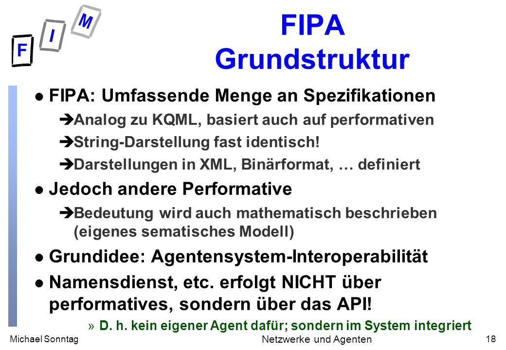 Michael Sonntag18 Netzwerke und Agenten FIPA Grundstruktur l FIPA: Umfassende Menge an Spezifikationen èAnalog zu KQML, basiert auch auf performativen èString-Darstellung fast identisch.