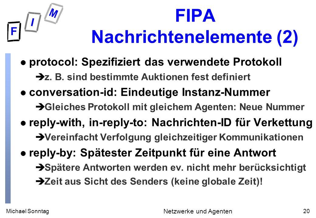 Michael Sonntag20 Netzwerke und Agenten FIPA Nachrichtenelemente (2) l protocol: Spezifiziert das verwendete Protokoll èz.