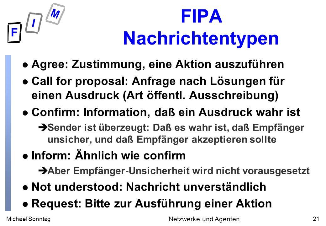 Michael Sonntag21 Netzwerke und Agenten FIPA Nachrichtentypen l Agree: Zustimmung, eine Aktion auszuführen l Call for proposal: Anfrage nach Lösungen für einen Ausdruck (Art öffentl.