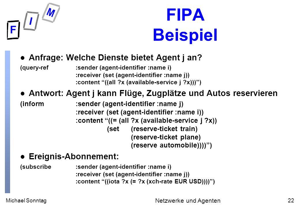 Michael Sonntag22 Netzwerke und Agenten FIPA Beispiel l Anfrage: Welche Dienste bietet Agent j an.
