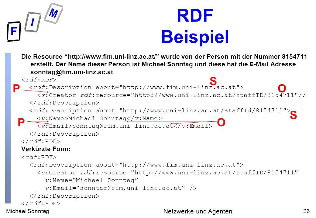 Michael Sonntag26 Netzwerke und Agenten RDF Beispiel Die Resource http://www.fim.uni-linz.ac.at/ wurde von der Person mit der Nummer 8154711 erstellt.