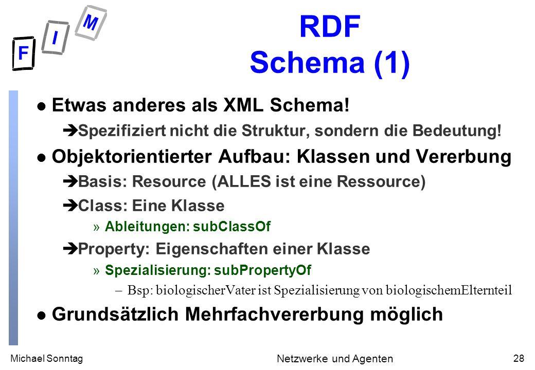 Michael Sonntag28 Netzwerke und Agenten RDF Schema (1) l Etwas anderes als XML Schema.