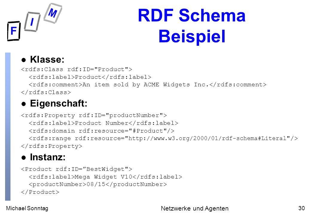 Michael Sonntag30 Netzwerke und Agenten RDF Schema Beispiel Klasse: Product An item sold by ACME Widgets Inc.