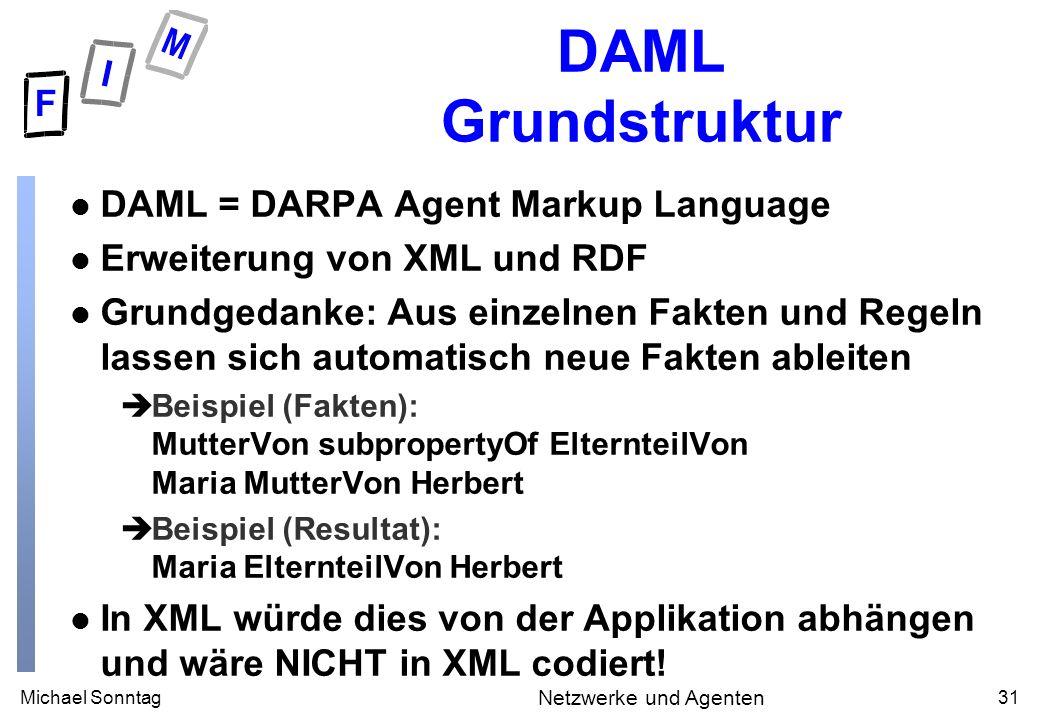 Michael Sonntag31 Netzwerke und Agenten DAML Grundstruktur l DAML = DARPA Agent Markup Language l Erweiterung von XML und RDF l Grundgedanke: Aus einzelnen Fakten und Regeln lassen sich automatisch neue Fakten ableiten èBeispiel (Fakten): MutterVon subpropertyOf ElternteilVon Maria MutterVon Herbert èBeispiel (Resultat): Maria ElternteilVon Herbert l In XML würde dies von der Applikation abhängen und wäre NICHT in XML codiert!