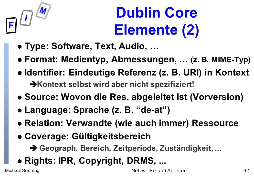 Michael Sonntag42 Netzwerke und Agenten Dublin Core Elemente (2) l Type: Software, Text, Audio, … l Format: Medientyp, Abmessungen, … (z.