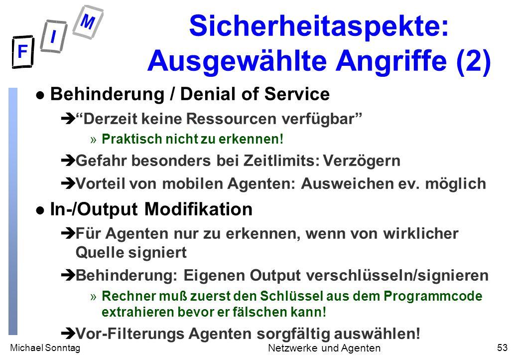 Michael Sonntag53 Netzwerke und Agenten Sicherheitaspekte: Ausgewählte Angriffe (2) l Behinderung / Denial of Service èDerzeit keine Ressourcen verfügbar »Praktisch nicht zu erkennen.