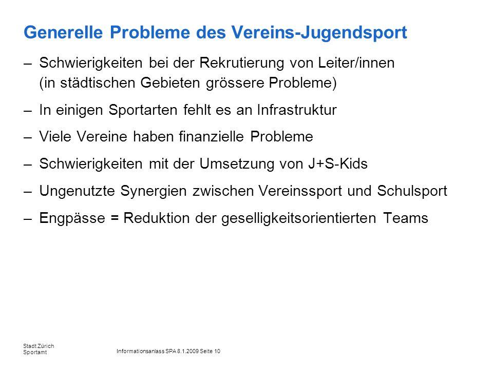 Informationsanlass SPA 8.1.2009 Seite 10 Stadt Zürich Sportamt Generelle Probleme des Vereins-Jugendsport –Schwierigkeiten bei der Rekrutierung von Le