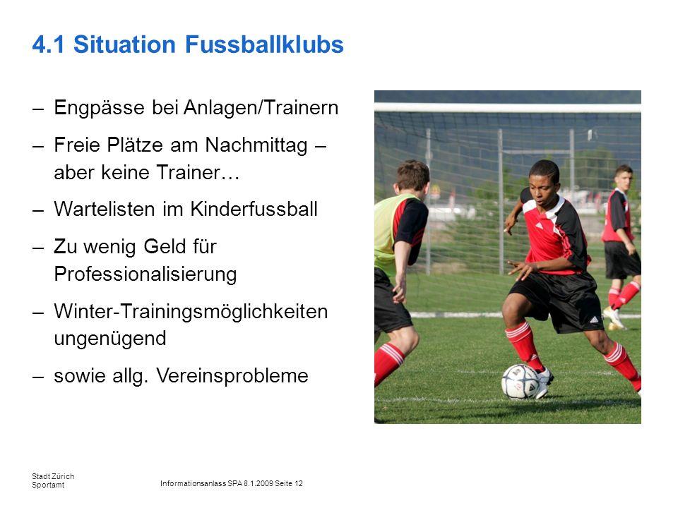 Informationsanlass SPA 8.1.2009 Seite 12 Stadt Zürich Sportamt 4.1 Situation Fussballklubs –Engpässe bei Anlagen/Trainern –Freie Plätze am Nachmittag
