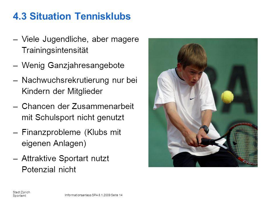 Informationsanlass SPA 8.1.2009 Seite 14 Stadt Zürich Sportamt 4.3 Situation Tennisklubs –Viele Jugendliche, aber magere Trainingsintensität –Wenig Ga
