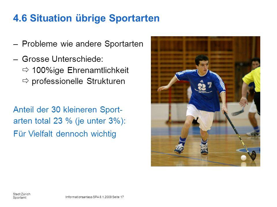 Informationsanlass SPA 8.1.2009 Seite 17 Stadt Zürich Sportamt 4.6 Situation übrige Sportarten –Probleme wie andere Sportarten –Grosse Unterschiede: 1