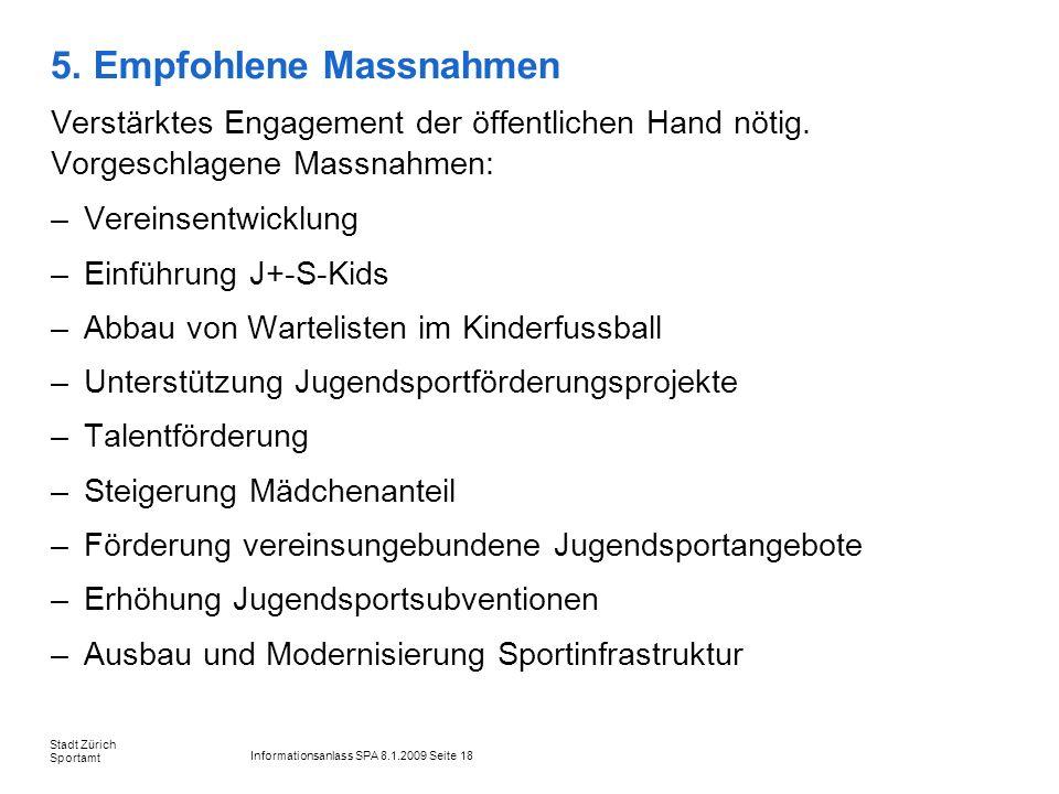 Informationsanlass SPA 8.1.2009 Seite 18 Stadt Zürich Sportamt 5. Empfohlene Massnahmen Verstärktes Engagement der öffentlichen Hand nötig. Vorgeschla