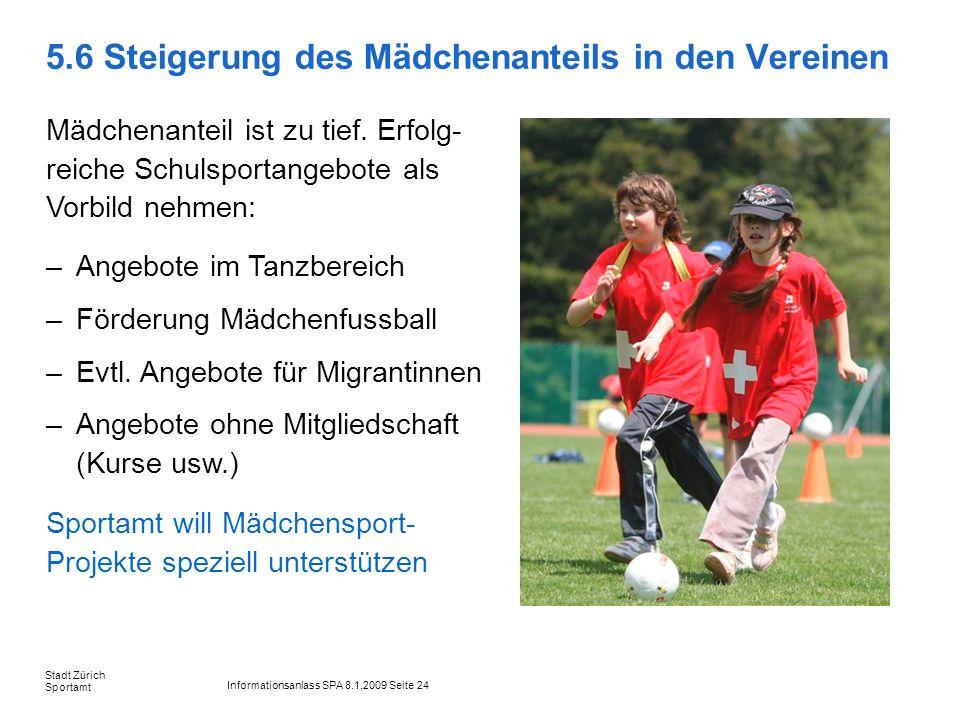 Informationsanlass SPA 8.1.2009 Seite 24 Stadt Zürich Sportamt 5.6 Steigerung des Mädchenanteils in den Vereinen Mädchenanteil ist zu tief. Erfolg- re