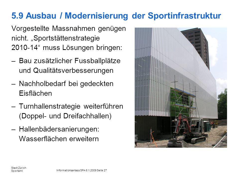 Informationsanlass SPA 8.1.2009 Seite 27 Stadt Zürich Sportamt 5.9 Ausbau / Modernisierung der Sportinfrastruktur Vorgestellte Massnahmen genügen nich