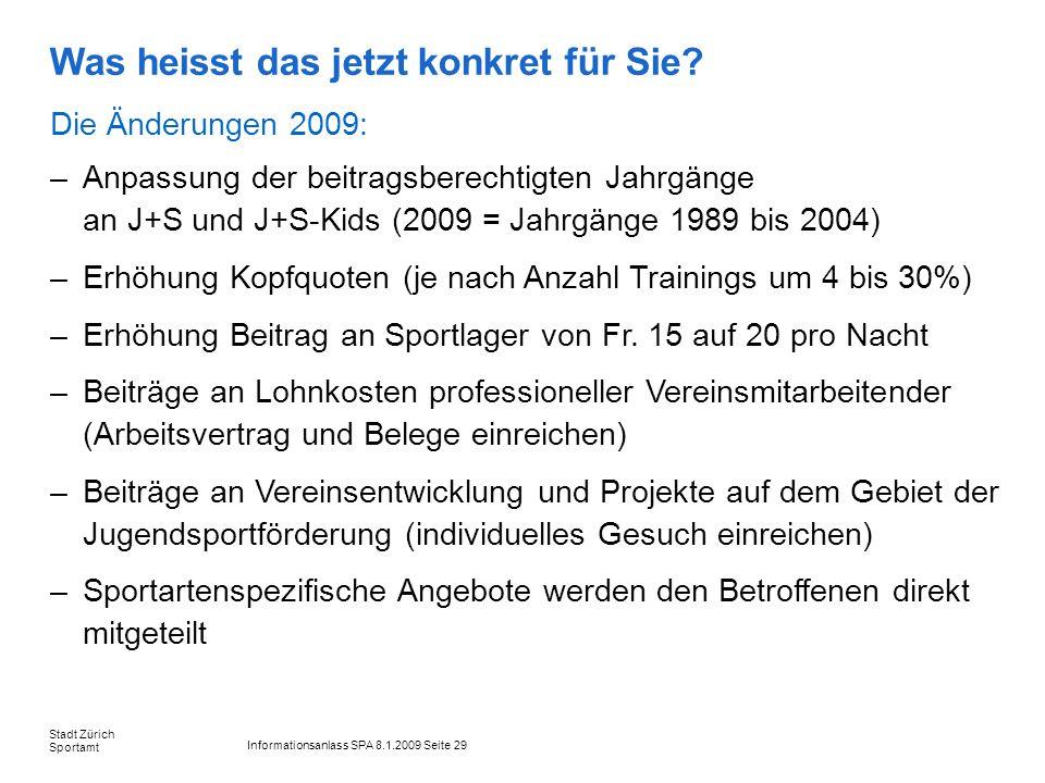 Informationsanlass SPA 8.1.2009 Seite 29 Stadt Zürich Sportamt Was heisst das jetzt konkret für Sie? Die Änderungen 2009: –Anpassung der beitragsberec