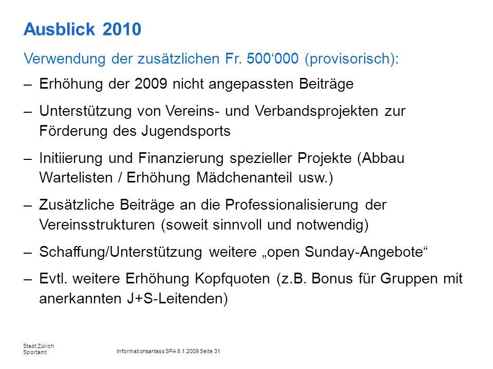 Informationsanlass SPA 8.1.2009 Seite 31 Stadt Zürich Sportamt Ausblick 2010 Verwendung der zusätzlichen Fr. 500000 (provisorisch): –Erhöhung der 2009