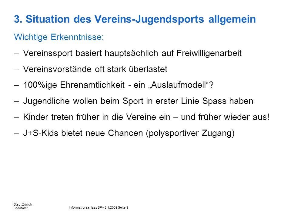 Informationsanlass SPA 8.1.2009 Seite 9 Stadt Zürich Sportamt 3. Situation des Vereins-Jugendsports allgemein Wichtige Erkenntnisse: –Vereinssport bas